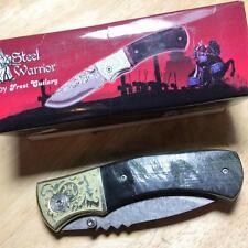 """Frost Steel Warrior Buffalo Horn Damascus Linerlock 4 1/2"""" Pocket Knife FSW205"""