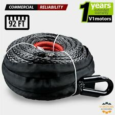 22000 Lb Synthetic Winch Rope 12 X 92ft Atv Utv Tow Truck Recovery Cable Black