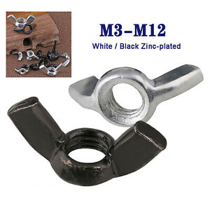 M3M4M5M6M8M10M12 White / Bright Zinc Plated Butterfly Wing Nuts Thumb Nut DIN315