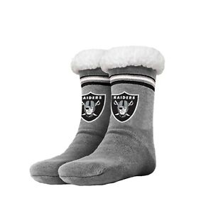 Oakland Raiders Women's Stripe Logo Tall Footy Slippers - Size 6-10 NEW Non Skid
