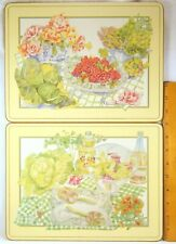 "SET (2) TWO PIMPERNEL PLACEMATS Cork-Backed ENGLAND Picnic Scenes 12""x 9"""