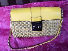 $228 NWT MICHAEL KORS STRAW GABRIELLA SUNFLOWER LARGE CLUTCH SHOULDER BAG