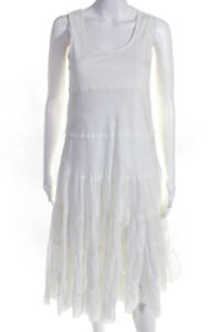 Theory Womens Cotton Sleeveless Tiered A-Line Dress White Size M