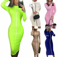 Women Bandage Bodycon Solid Long Sleeve Evening Party Cocktail Pencil Midi Dress