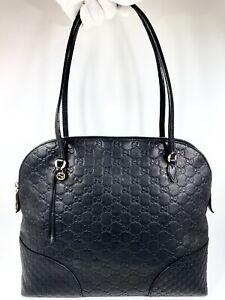 Gucci Bree Guccisima Black Leather Monogram Shoulder Bag
