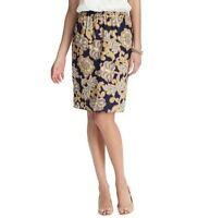 NWT Ann Taylor Loft Navy Blue Lush Floral Elastic Waist Pencil Skirt $69 XS S