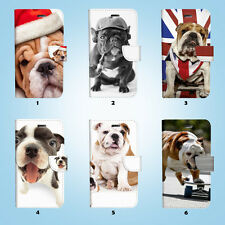 Bulldog Wallet Case Cover for Samsung Galaxy S3 4 5 6 7 8 Edge Note Plus 017