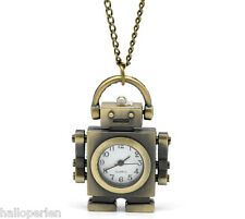"HP Bronze Tone Necklace Quartz Robot Pocket Watch 85cm(33-1/2"")"