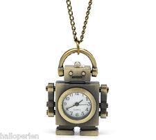 """Bronze Tone Necklace Quartz Robot Pocket Watch 85cm(33-1/2"""")"""
