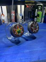 Two Glass Stash Jars Prescription Weed Smell Proof- Colorful Leaf