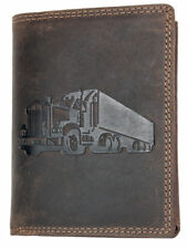 Strong genuine leather wallet without fabric lining with a truck. Fast shipping.