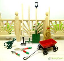 8 Dollhouse Miniature Garden Tools Kit Watering Can Cart Shovel Shears Broom Set