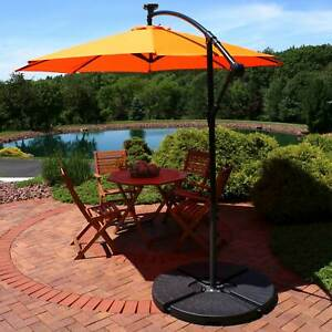 Sunnydaze Offset Patio Umbrella with Solar LED Lights - 9-Foot - Tangerine