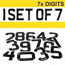 7x 3d Gel Number Plates Black Domed Resin Making DIY REG DIGITS PACK SET OF 7pcs