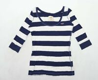 Hollister Womens Size M Striped Cotton Blue Top (Regular)