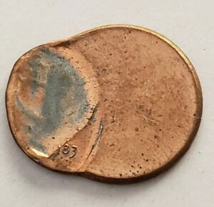 1983  Lincoln Cent Error   Off-Center And Indented Strike