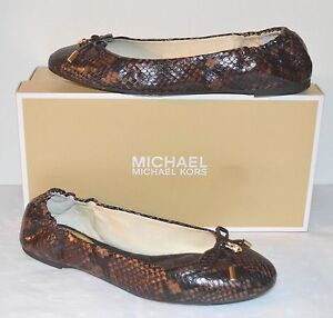 New $110 Michael Kors Melody Ballet Dark Chocolate Embossed Leather Flats Brown