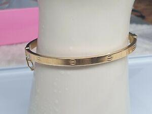 Genuine 18k Solid Saudi Gold Bangle 16 cm Clip Type