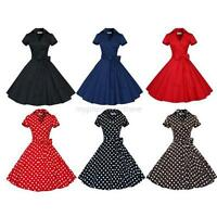 Retro Rockabilly Women Lace Chic Polka Dots Cocktail Party Evening Swing Dress