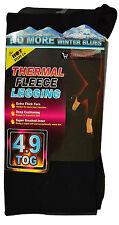LADIES THERMAL LEGGINGS FLEECE LINED WINTER THICK BLACK 4.9 TOG BNWT