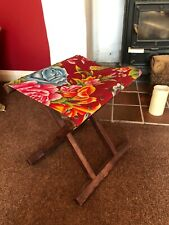 Vintage Folding Camping Stool Wooden Frame Canvas Top Stool Fishing Stool