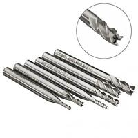 6/1 Pieces 2mm-6mm 4 Flute Milling Cutter HSS End Mills Engraving Tools - (1)