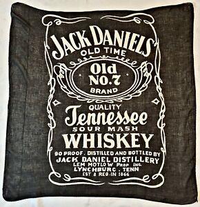 "SCARF VINTAGE AUTHENTIC LOGO ART JACK DANIELS WHISKEY BLACK COTTON 36"" SQUARE"