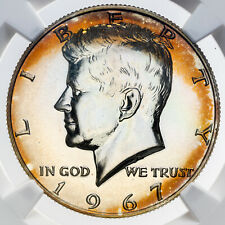 1967 KENNEDY HALF DOLLAR SILVER NGC MS66 SMS PROOF COLOR UNC ORANGE TONED (DR)