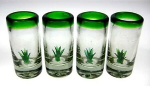 Mexican tequila SHOT Glasses, Hand blown w/ agave cactus set of 4
