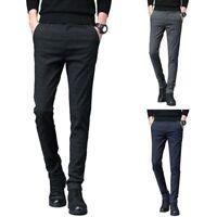 Men Plain Formal Business Suit Pants Slim Fit Straight Long Trousers Noted