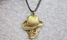 """1-1/2"""" x 1-3/8"""" Metal SKULL in COWBOY HAT with 18"""" Black Rope Necklace (#36)"""