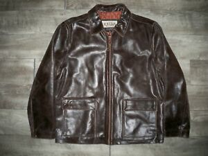 Wilsons Distressed Leather Insulated Lined Car Club Bomber Riding Jacket Mens LG