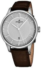 Perrelet Men's First Class Brown Leather Strap Automatic Date Watch A1073/4