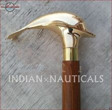 Solid Brass designer wooden walking cane dolphin handle walking stick nautical