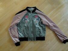 GLAMOROUS PETITE ladies green pink velvet floral embroidery bomber jacket uk 6