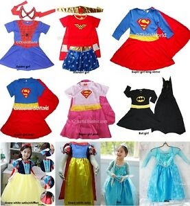 NEW Super hero Princess children's costume for party dress up 1-12 yrs