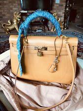 Auth Vintage HERMES KELLY 35 Vache Box  With Shoulder Strap Bag