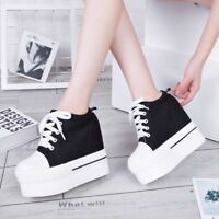 Platform Shoes Lace-up Creepers Sneakers Hidden Wedge High Heel Women's Canvas