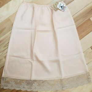 NWT VTG Farr West Magnin~Lindsey Roscoe Pink French Lace Half Slip Made France M