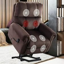 Power Lift Recliner Massage Chair With Heat & Vibration Fabric Overstuffed Sofa