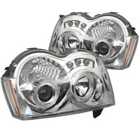 Fit Jeep 05-07 Grand Cherokee Chrome DRL Dual Halo LED Projector Headlights Lamp
