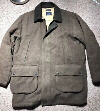 Nautica Vintage Wool Leather Parka Jacket Sz L MILITARY Coat TWEED ARMY