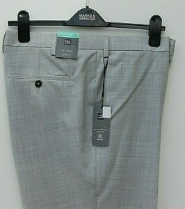 Marks & Spencer Mens Flat Front Slim Fit Tailored Trousers W42 L33 Light Grey