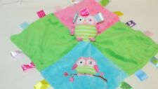 Oodles Owl security blanket Taggies Mary Meyer baby pink blue green satin back