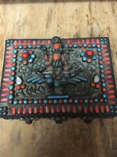 Antique Brass Filigree w/ Coral & Turquoise hinged Jewelry Trinket Box