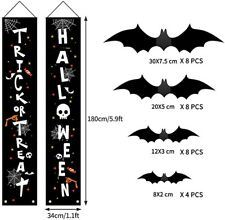 New Halloween Outdoor Indoor Decorations 28 Pcs-Signs &3D Scary Bats Party Decor