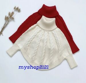 Girls Sweater Christmas Turtleneck Warm Autumn Winter Long Sleeve Age 2-7 years