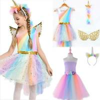 Kids Girls Unicorn Costume Fancy Dress Cosplay Halloween Outfits Party Lovely