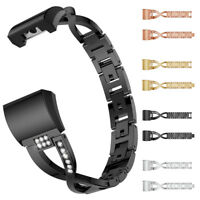 Replacement Small Metal Crystal Watch Band Wrist strap For Fitbit Charge 2