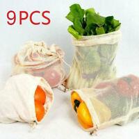 9 PCS Reusable Mesh Produce Cotton Bags Grocery for Fruit Vegetable Storage Eco